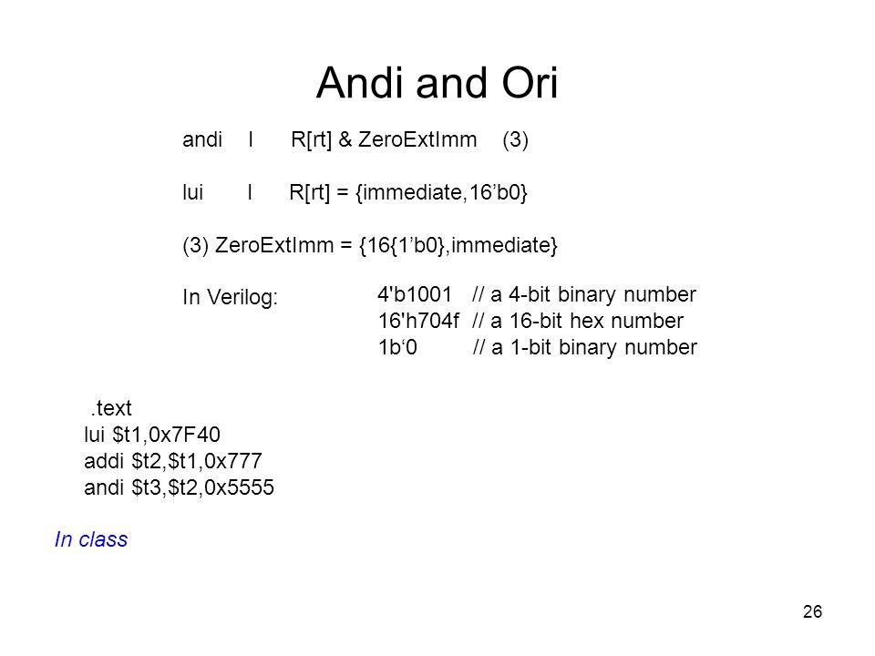 Andi and Ori andi I R[rt] & ZeroExtImm (3)